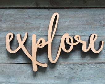 "Mini 12"" Explore Word Wood Cut Wall Art Sign kitchen restaurant home Decor"
