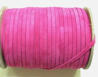 "3/16"" Flat Cowhide Leather Lacing in Fuchsia Pink Calf Split (10 yds) 0187ND9 Fushia pink fuschia"