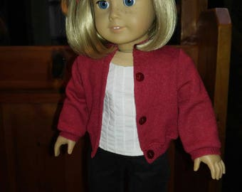 RED MERINO WOOL Cardigan Sweater 18 inch doll clothes