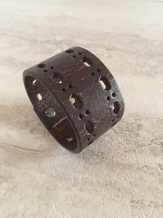 Handmade Women's Leather Cuff Brown Cut Outs