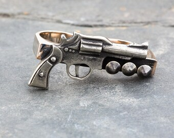 PISTOL WHIPPED Peace Maker Double Gun Ring in Silver by Jungle Tribe Couture