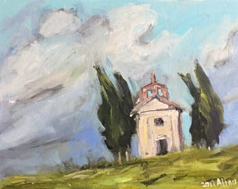 "Tuscan View Cypress Trees Chapel 9x12"" acrylics on canvas original painting Italy"