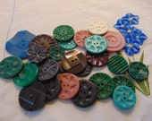 Lot of Carved Vintage Sew Thru Buttons