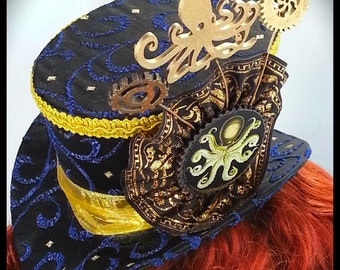 Steampunk one off Min top Hat. Blue and gold