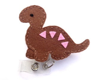 SALE - Retractable badge holder reel - Dinomite Dinosaur - Brown pink felt - nurse badge reel teacher anthropologist medical staff