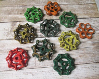 FAUCET HANDLES DISTRESSED - 10 Vintage Assorted Green, Yellow, Orange for Mixed Media, Steampunk Industrial Decor, Altered Art Projects