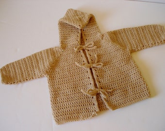 Crocheted Pixie Hooded Baby Toddler Sweater Made from Warm Worsted Weight Yarn 18-24 Months Size Light Neutral Tan Brown with Tie Closures