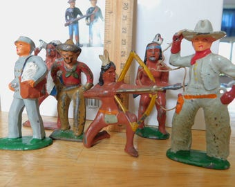 """Vintage Toy Soldiers Collection Metal Figures Native Americans Cowboys Mailman Lot of six 3 1/2"""" Antique Fiqures and Book"""