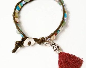 Gemstone Leather Faith Bracelet