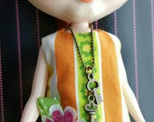 necklace for Blythe Barbie Doll - antiqued brass ball chain and key charms B192