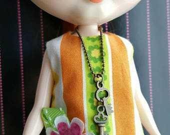 necklace for Blythe Barbie Doll - antiqued brass ball chain and key charms