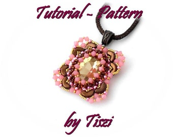 Beading pattern for Arcos beads, tutorial for beaded pendant Nerina with oval crystal - PDF instructions, step by step