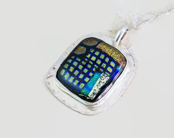 Dichroic Glass Art Pendant Necklace in Sterling Silver Handcrafted Handmade