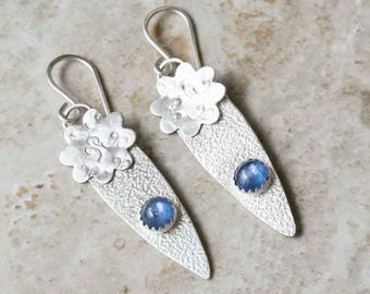 Blue Kyanite Sterling Silver Dangle Flower Earrings Handcrafted