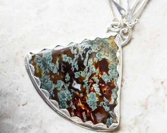 Red Green Exotic Moss Agate Pendant Necklace in Sterling Silver Handcrafted