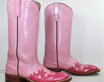 Vintage cowboy cowgirl inlay overlay light pink flame squared toe low heel knee high tall western womens Leather fashion boots 6.5 M B