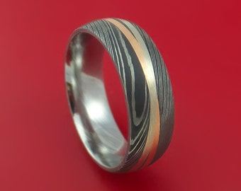 Damascus Steel Ring with Diagonal 14K Rose Gold and White Gold Inlays Wedding Band Custom Made