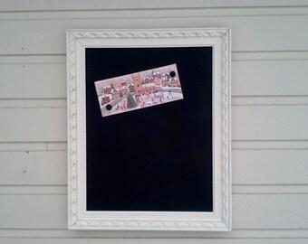 Framed Magnetic Chalkboard in a vintage painted Off-white frame, Office magnetboard, Message Center, Kitchen organizer