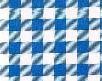 Large Round Large Gingham Blue Oilcloth Tablecloth