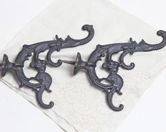 Black antique victorian hooks french hooks vintage black hooks