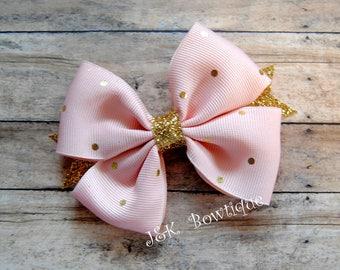 Soft pink and gold pin dots...pin wheel hair bow....hair clip...sparkly gold