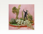 Cactus Print, Abstract Portrait, Surreal Paper Collage, Female Figure, Pink and Green Wall Art - The Wonders of Cactus Island