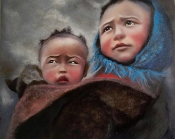 Original Oil Painting, children portrait, Brother's Keeper, Contemporary Realism, Traditional art