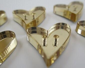 6 pcs Acrylic Heart Buttons - 15mm - Plexiglass Button - Plastic Button - Fashion Scrapbooking sewing - Golden Mirror (BUP004GM)