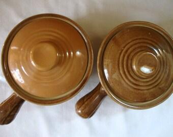 2 VINTAGE Covered Soup Bowls Mid Century MCCOY USA Pottery Chili Bowls Pottery Bowls French Onion Soup Bowls Rich Brown Glaze Pottery Pots