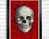 Skull Art Print Rose Roses Flowers, Anniversary Gift, Dictionary Art Print, Red Roses Wall Decor, Skull Poster Artwork, Cool Bedroom Art 020