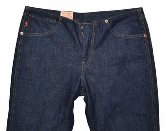 ON SALE Vintage Womens LEVIS Straight Leg Jeans 29x32 Low Waist Dark Blue Cotton Denim