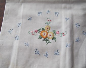 Pair Pillowcases Vintage Cotton Embroidered New Unused