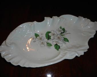 Antique NC Fine Porcelain Dogwood Candy Dish J & M Ceramics 1976 North Carolina State flower