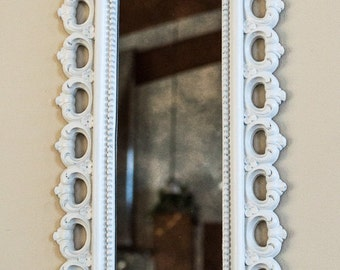 Small Antiqued Wall Mirror for Small Spaces 7.5 x 19 / Include in Frame Arrangement