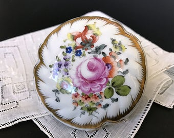 Hand Painted Floral Porcelain Trinket Box Herend Bonbon Box Jewelry Box