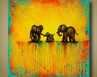 Family of Elephant Paintings - Elephant Art Original Painting 30x30 - Bright Colors - Colorful Art - Spectacular Journey by Britt Hallowell
