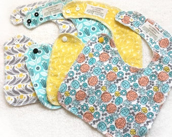 Shabby Chic Organic Side Snapping Bibs - Drool Bibs - Easter - Pascha - Spring Floral Collection