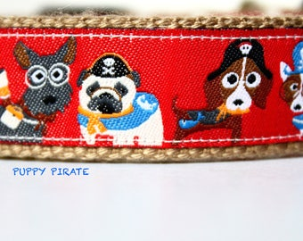 Puppy Pirate Dog Collar, Pirate Dog Collar, Pet Accessories, Adjustable Dog Collar, Dog Collar