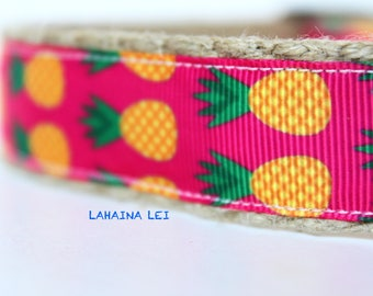 Hawaii Dog Collar, Pineapple print Dog Collar, Adjustable Dog Collar, Girl Dog Collar, Collar & Leash Set