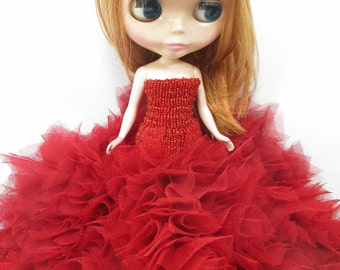 Blythe Outfit Clothing Cloth Fashion handcrafted beads lace tutu gown dress  958-34