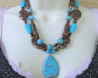 Chunky Jasper, Turquoise and Magnesite Necklace
