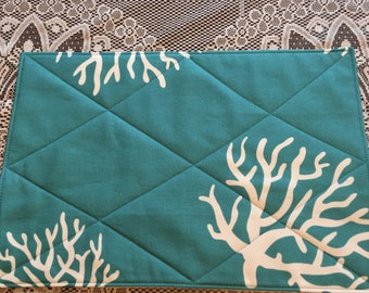 Placemat Sets #1518, Set of 4 Napkins and Place Mats,  Turquoise With Coral.  Padded Place Mats, Cloth Napkins, Table Settings, Placemats