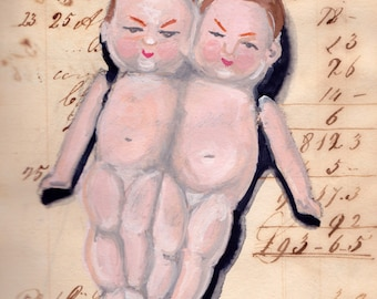ORIGINAL PAINTING Vintage Bisque Conjoined Twins in Gouache