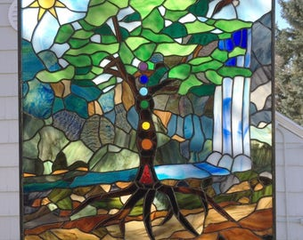 "Chakra Tree Landscape - 24"" wide x 26.75"" tall-- Stained Glass Panel"