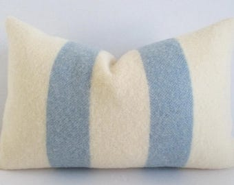 Lumbar Pillow Cover Ivory & Cornflower Blue Wool Blanket Zipper 12 x 18