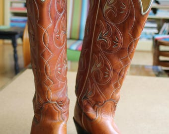 Rad Vintage 70's Cowgirl BOOTS by Acme...Fabulous Detail...High Shaft...Size 5 1/2C...Coachella...Festival