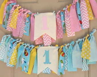 Oh the places you'll go Dr Seuss Highchair Banner First Birthday banner Smash Cake Banner 1st birthday fabric banner Twins Photo Prop