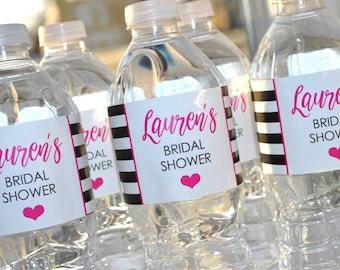 Bridal Shower Water Bottle Labels, Bachelorette Party, Wedding, Engagement Party, Bachelorette Party, Hot Pink & Black Stripe - Set of 10