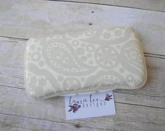READY TO SHIP Gray and Cream Paisley Travel Baby Wipe Case, Personalized Baby Shower Gift, Wipe Holder, Monogrammed Diaper Bag Wipe Clutch