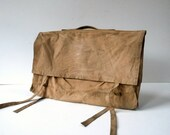 Vintage Canvas 2 Sided Garment Bag / Distressed Weathered Worn Stained / Vintage Travel Luggage / WWII Korean War Era Canvas Garment Bag